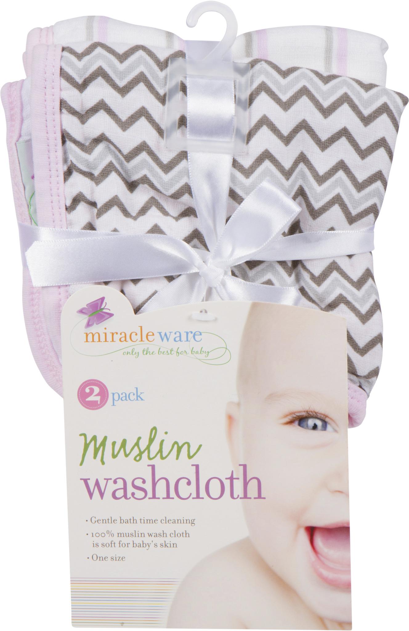 Pink Miracleware Muslin Baby Washcloths 2 Pack