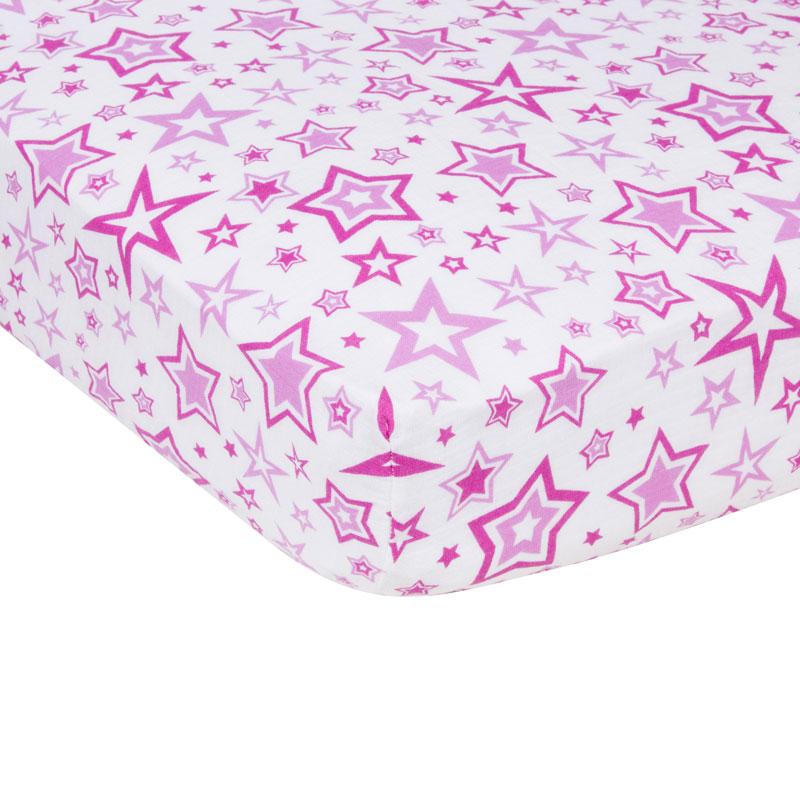 Radiant Orchid Stars Miracleware Muslin Crib Sheet