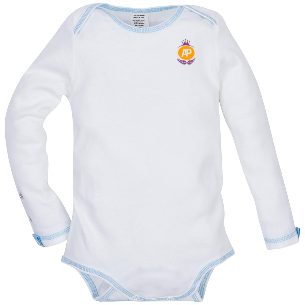 White with Blue Stitch Organic Adjustable Bodysuit Long-Sleeve