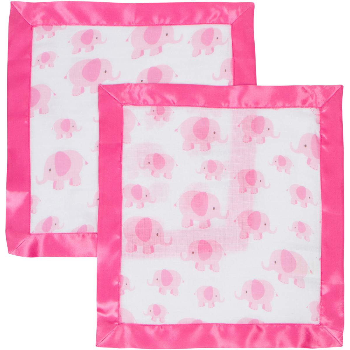 Pink Elephant MiracleWare Muslin Security Blanket 2 Pack