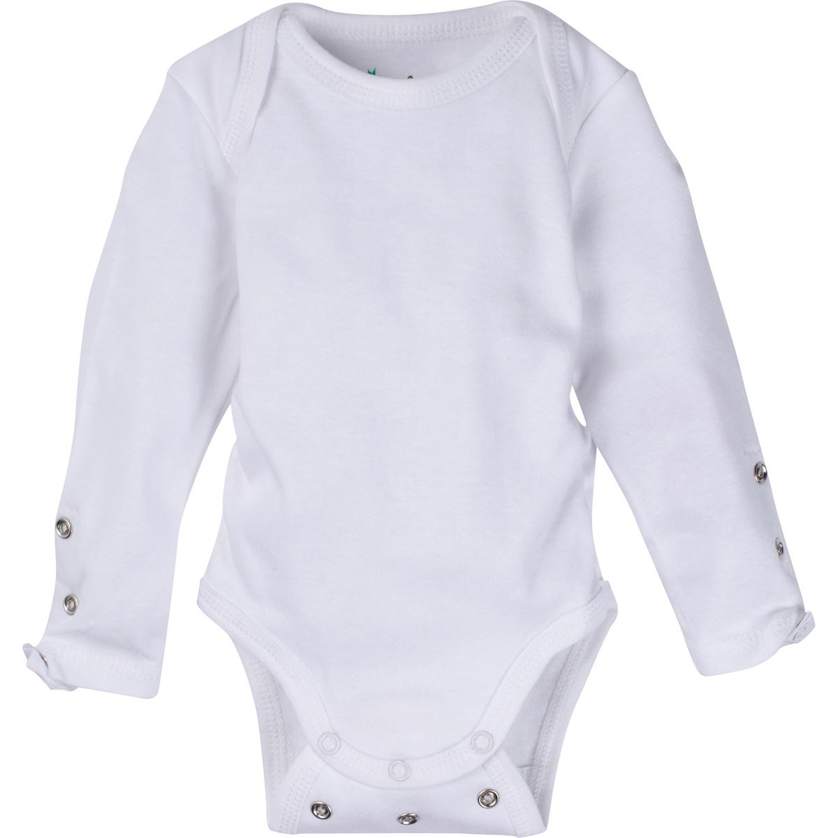 Solid White Adjustable Bodysuit Long-Sleeve